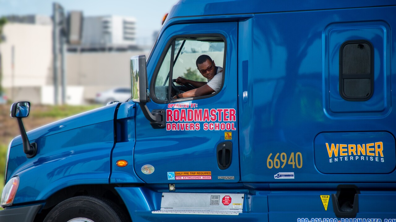 Semi trucks as seen from Roadmaster Drivers School