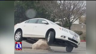 Large, strategically-placed rock causing car crashes inRoy