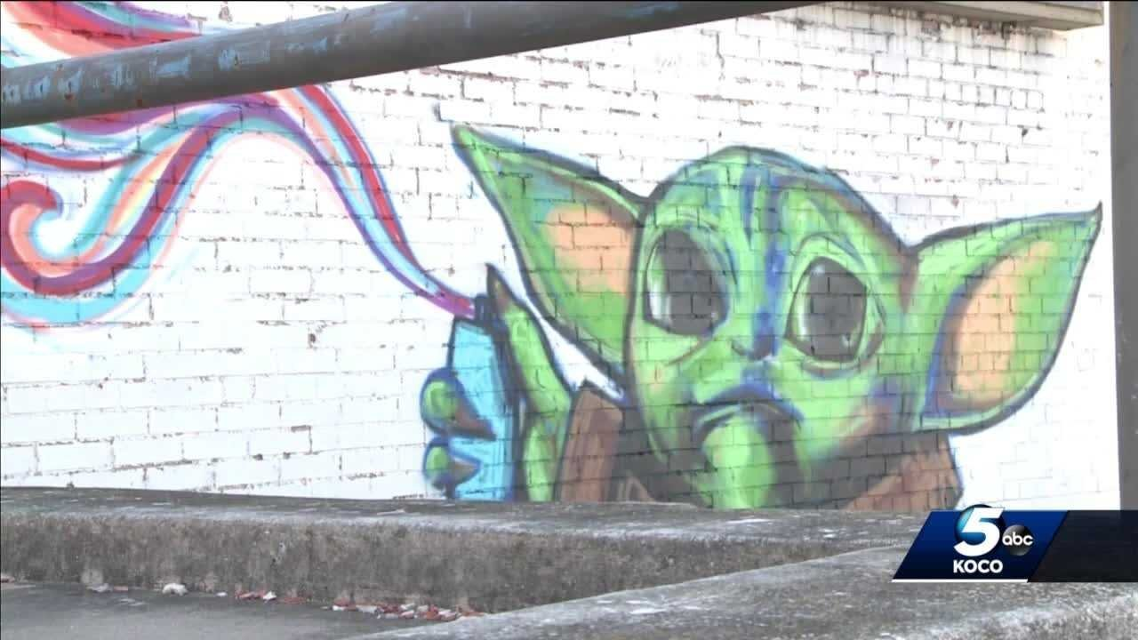 Man says Baby Yoda mural is way to promote arts for young Oklahomans