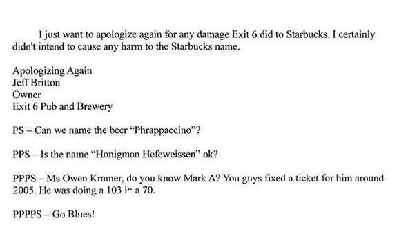 """Photos: Starbucks goes after pub for 'Frappicino beer""""; pub sends $6, hilariousresponse"""