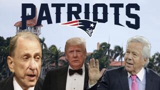 Donald Trump, Arlen Specter, Robert Kraft, New England Patriots logo over Mar-a-Lago