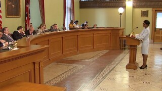 Ohio Senator Sandra Williams introduces her bill that would ban water bill tax liens in the state.jpg