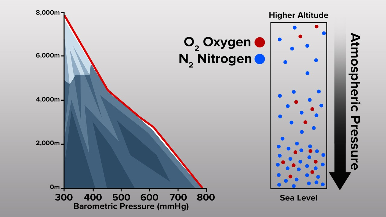 Oxygen and pressure change with elevation