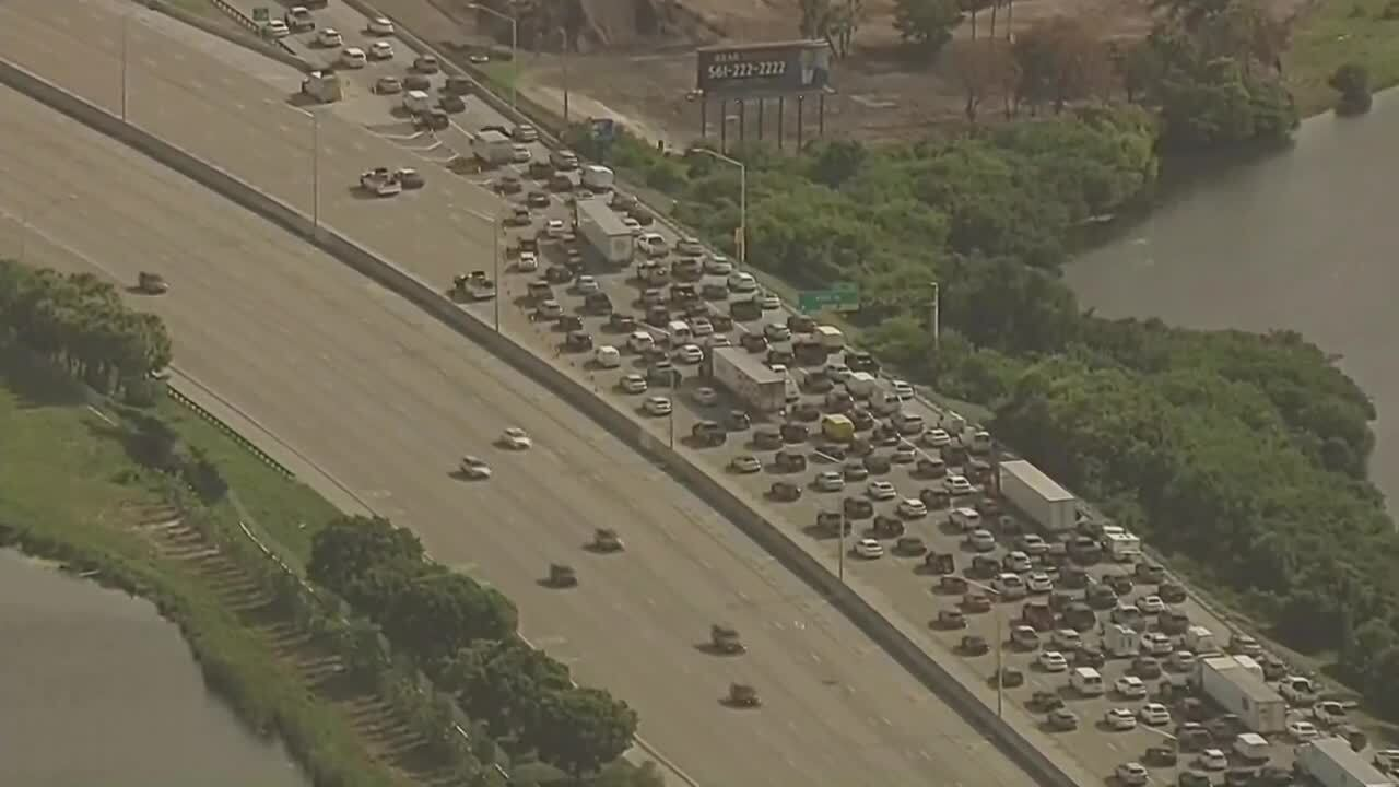 Chopper 5 aerial of traffic diverted off I-95 at 45th Street, July 13, 2021