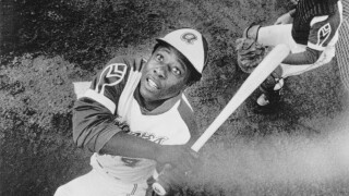 Hank Aaron batting