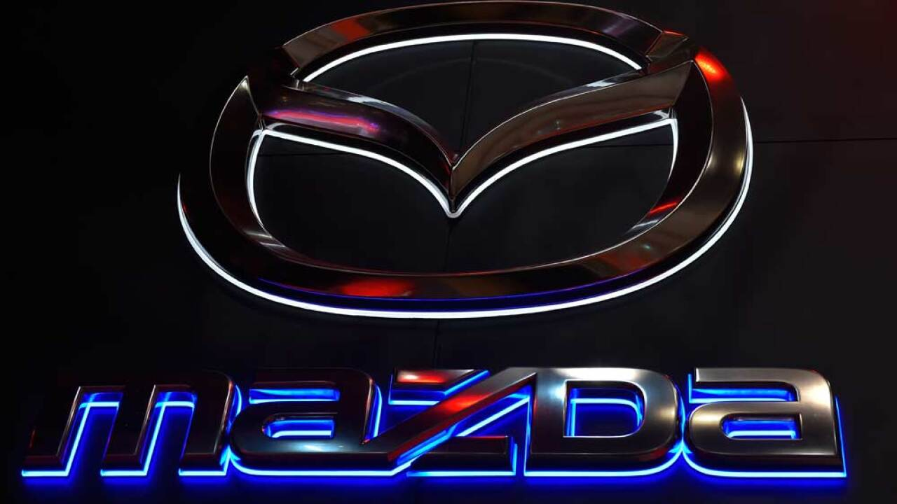 Mazda Motor Corporation logo is seen during the Tokyo Motor Show 2015 at Tokyo Big Sight on October 28, 2015 in Tokyo, Japan. (Photo by Koki Nagahama/Getty Images for Mazda Motor Corporation)