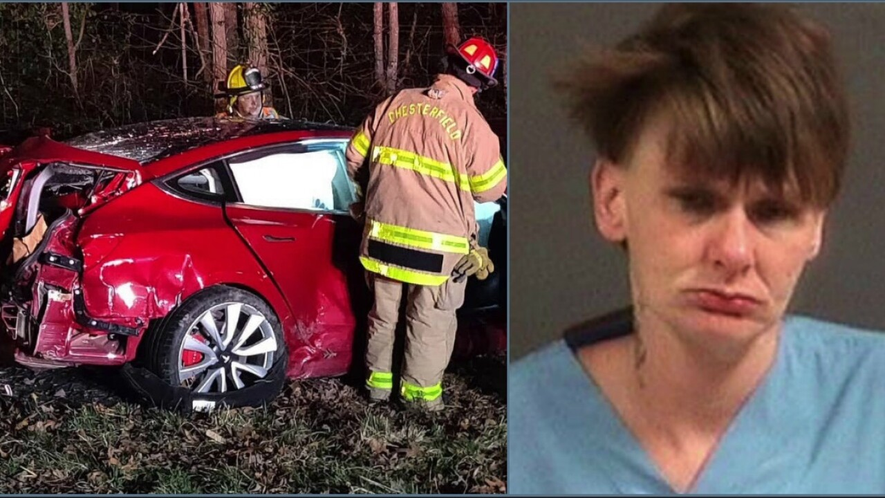 Woman arrested for crashing stolen Tesla on I-95
