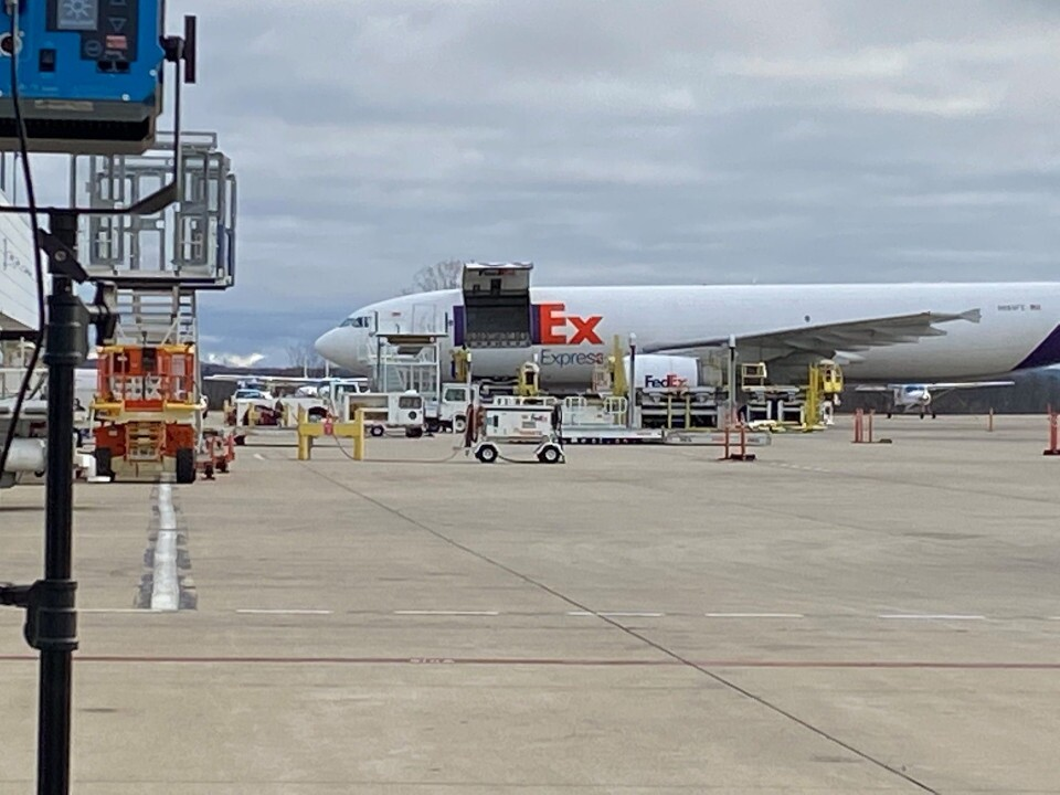 Gerald R. Ford International Airport Pfizer COVID-19 vaccine from Portage plant loaded FedEx plane December 13, 2020