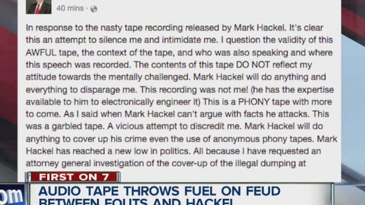 War of words between Hackel, Fouts continues