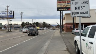 right turn only at Evans and colorado boulevard
