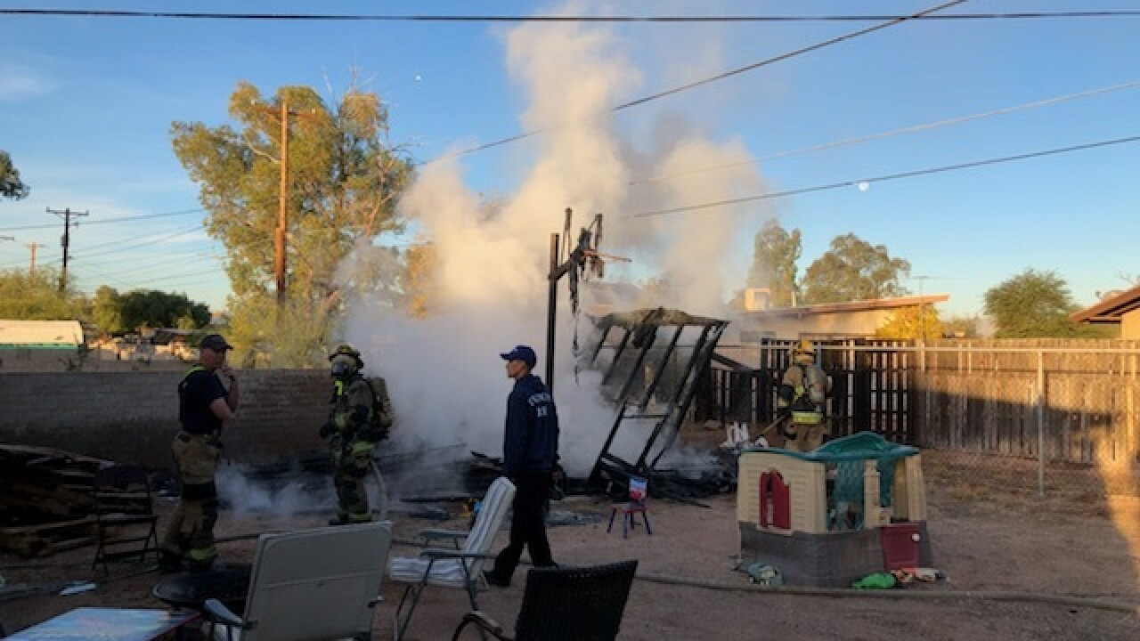 Shed Fire in South Tucson