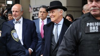 Roger Stone, former adviser and confidante to U.S. President Donald Trump, leaves the Federal District Court for the District of Columbia after being sentenced February 20, 2020 in Washington, DC. Portraying himself as the 'dirty trickster of American politics,' Stone was sentenced to 40 months in prison for obstruction, lying to Congress and witness tampering, charges stemming from former Special Counsel Robert Mueller's investigation into Russian interference in the 2016 election. (Photo by Chip Somodevilla/Getty Images)