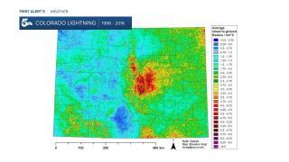 Colorado Lightning Density Map