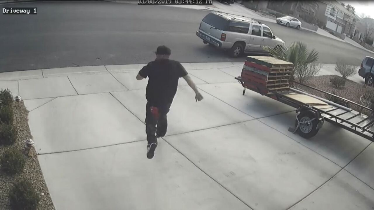 A pistol-packing Las Vegas homeowner confronted a would-be package thief and chased him down the street in Northwest Las Vegas, Friday.