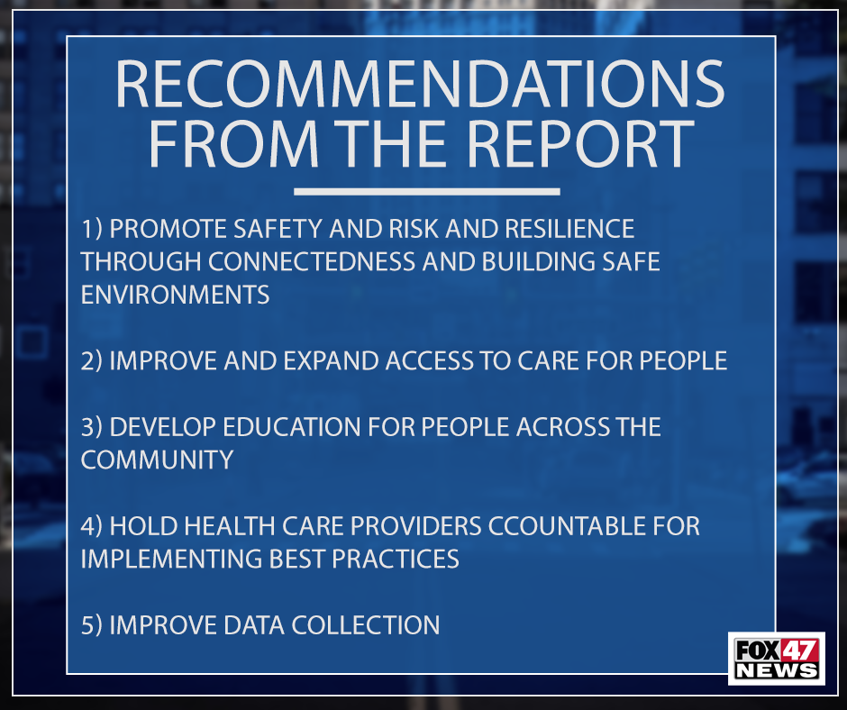 Five major recommendations from the Michigan Suicide Prevention Commission