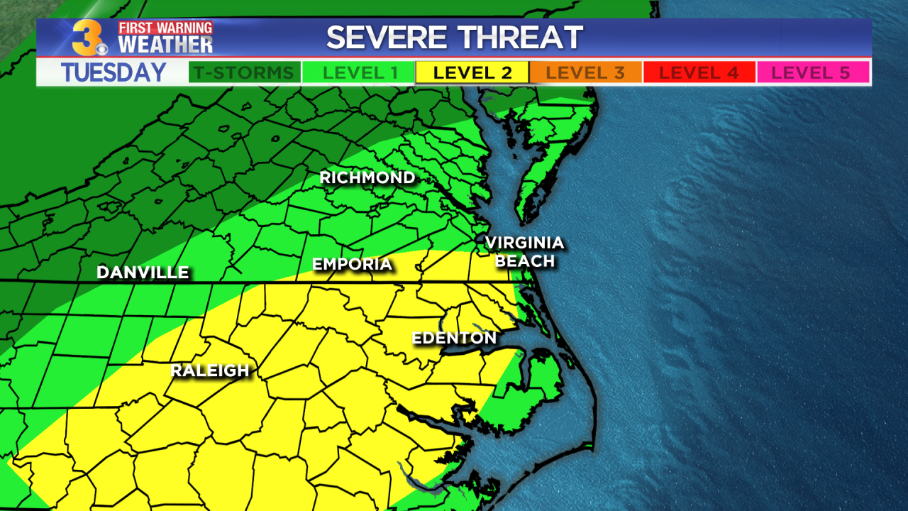 Tuesday's First Warning Forecast: Severe storm threat today
