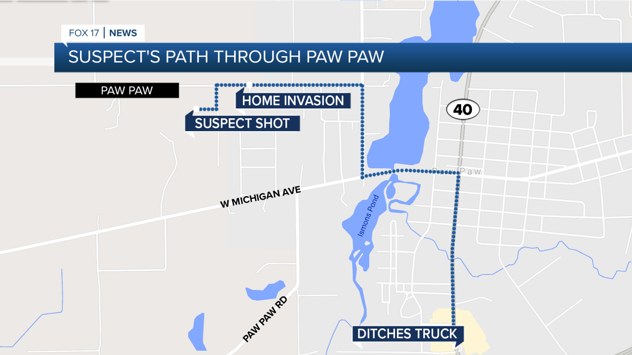The 49-year-old suspect's path through Paw Paw Thursday night