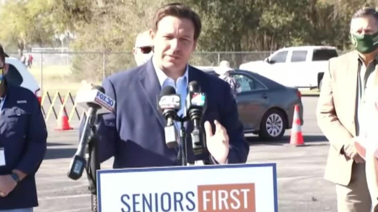 Gov. Ron DeSantis in Lake City on March 11, 2021