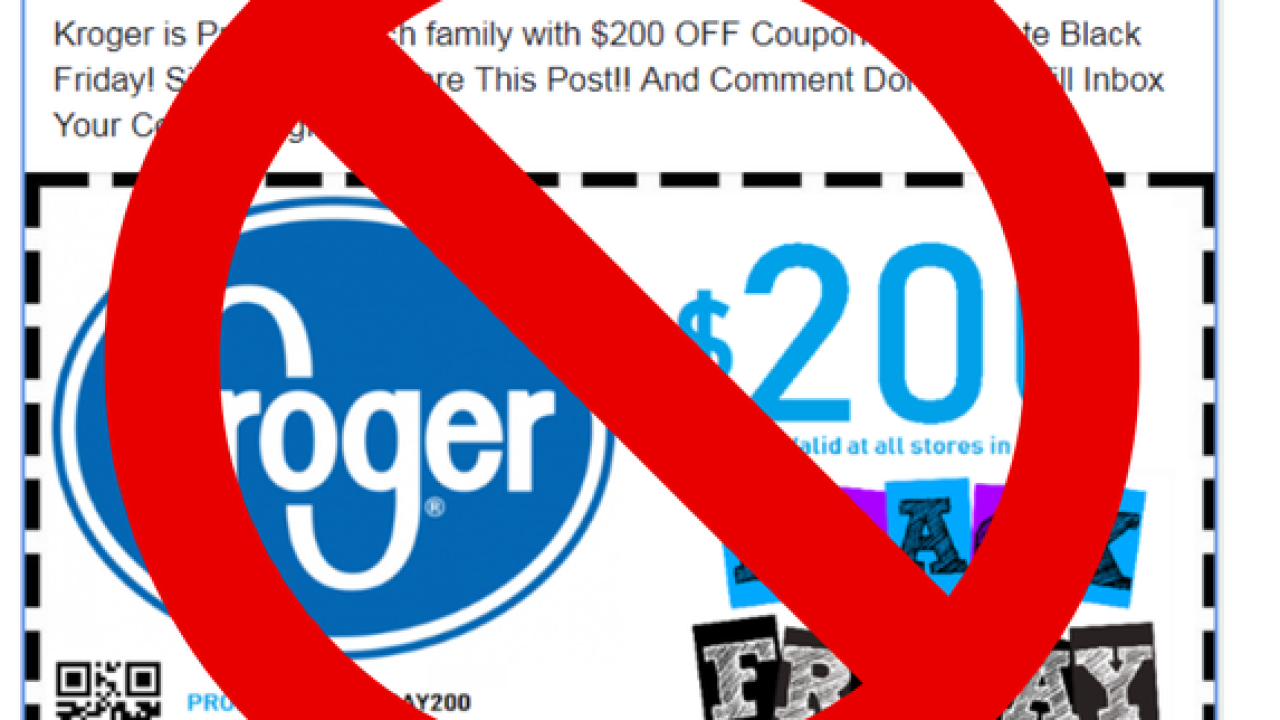 Kroger warns customers of fake Black Friday coupon