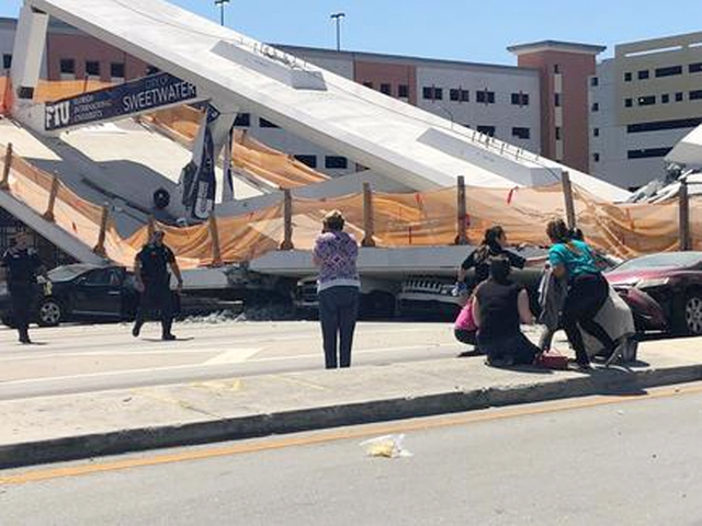 PHOTOS: Bridge collapse near Florida International University crushes cars