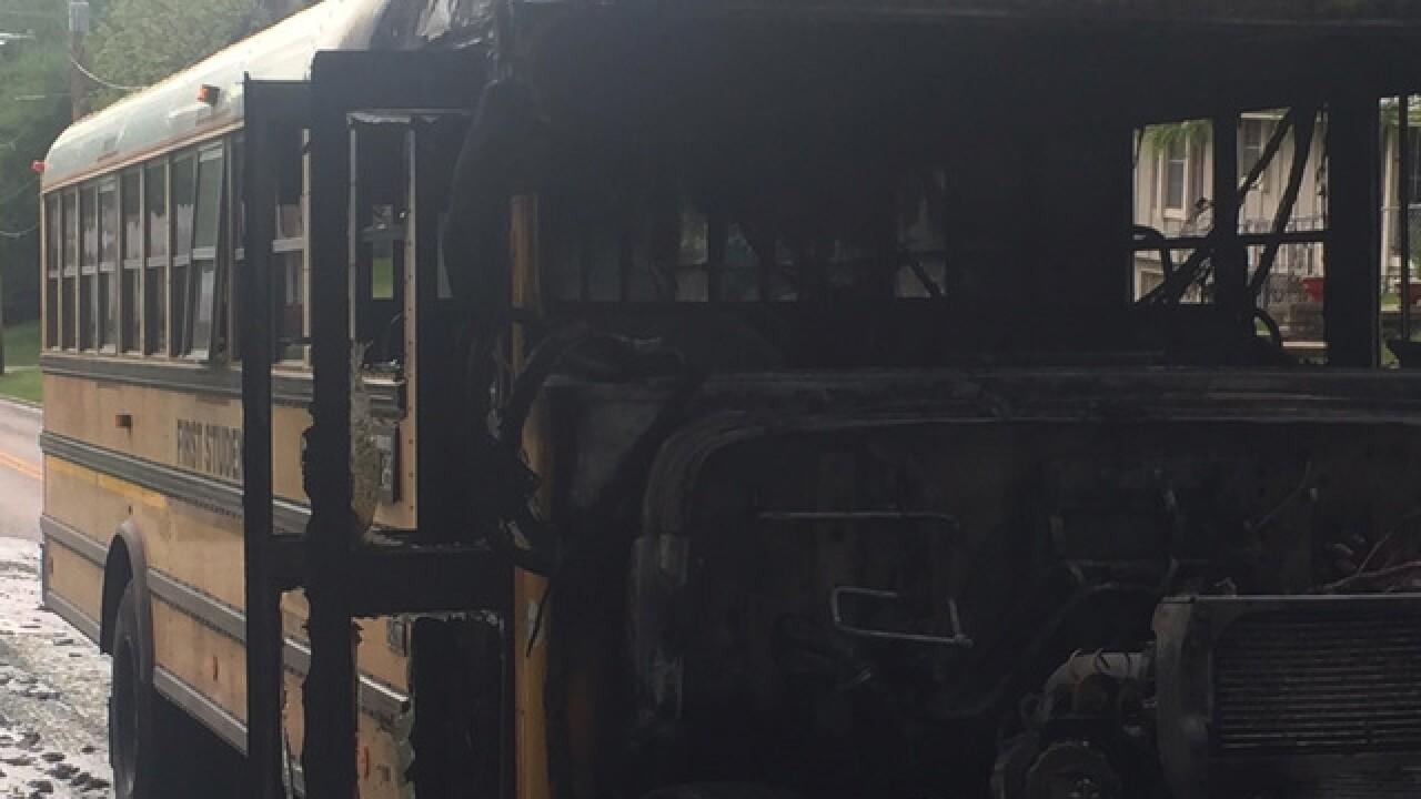 School bus on fire in KCMO