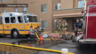 Fire at Tanner Terrace Apartments in Glendale