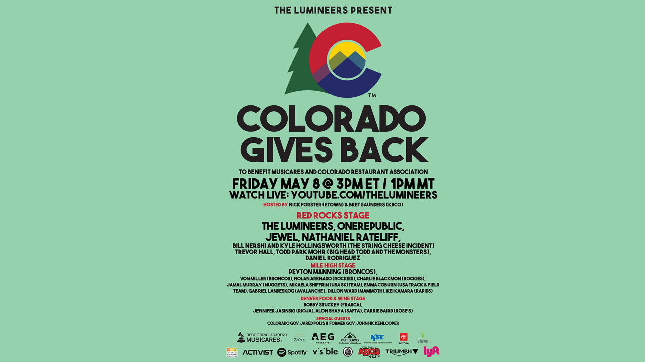 The Lumineers, Nathaniel Rateliff, Jewel to play at 'Colorado Gives Back' virtual fundraiser Friday