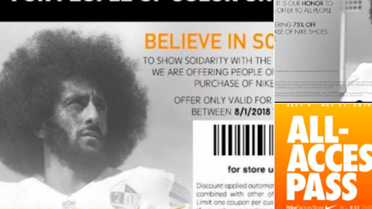 Nike: Coupons featuring Colin Kaepernick's face, for 'people of color,' are fake