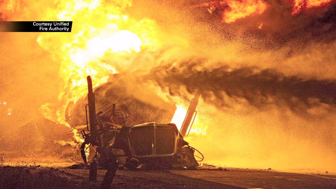 All southbound I-15 lanes are back open after massive tanker fire nearMidvale