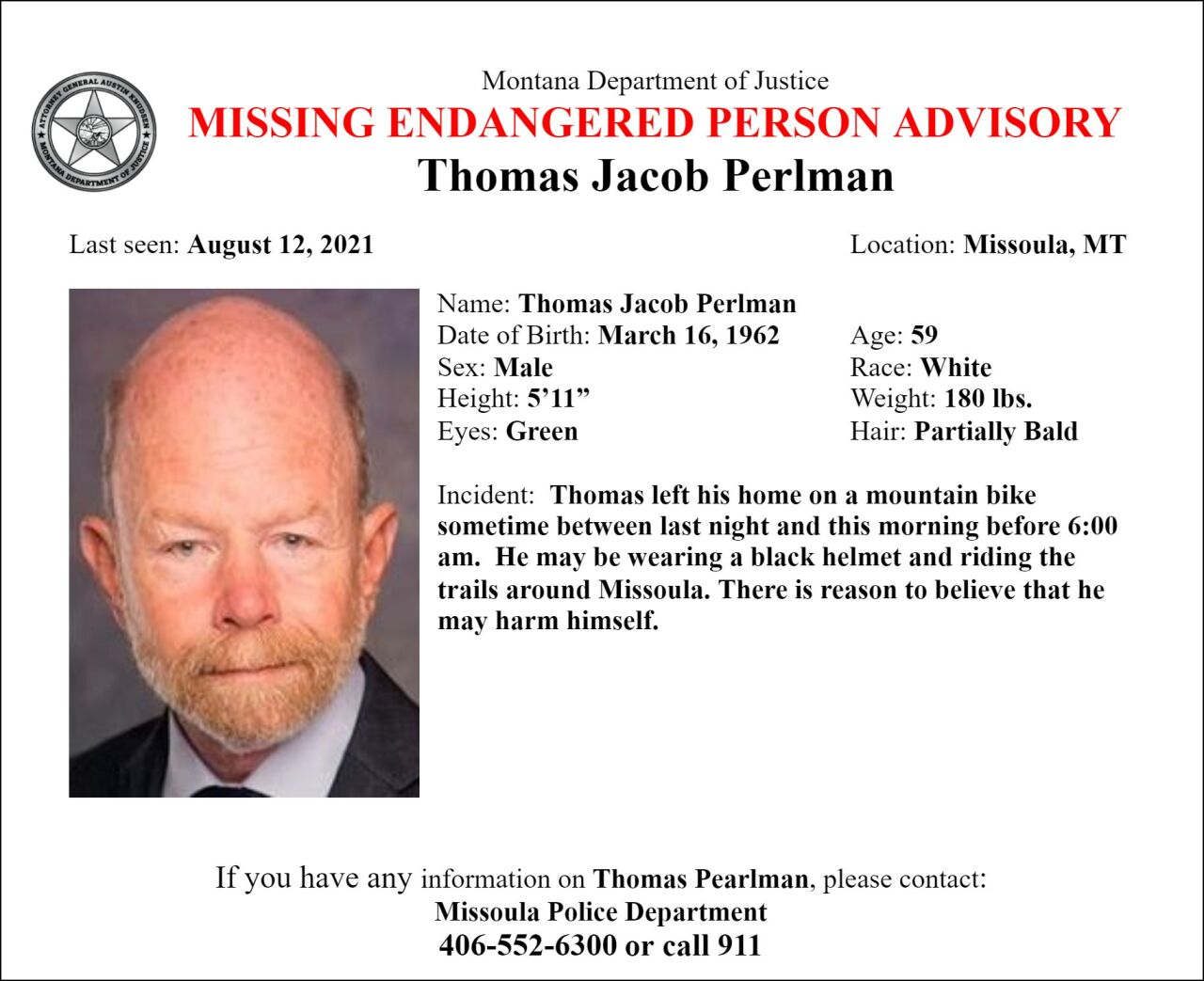Missing Endangered Person Advisory has been issued for Thomas Jacob Perlman