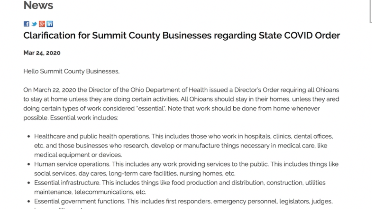 Summit Co. gets 400 complaints, businesses may be violating state order