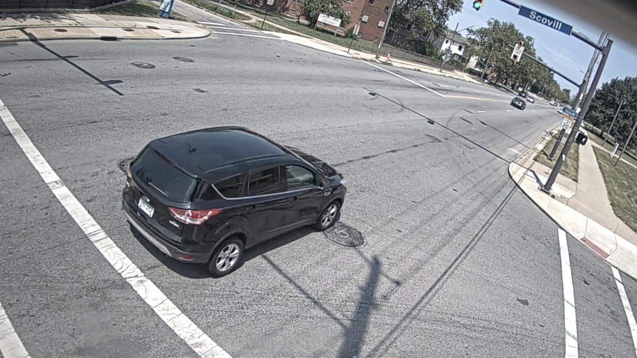Cleveland police fatal motorcycle crash suspect car