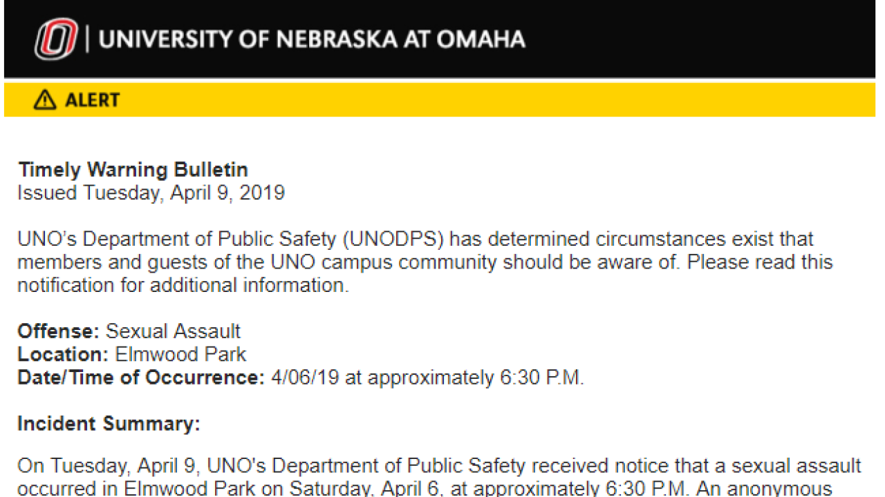 UNO email to students reg sexual assault in Elmwood.PNG