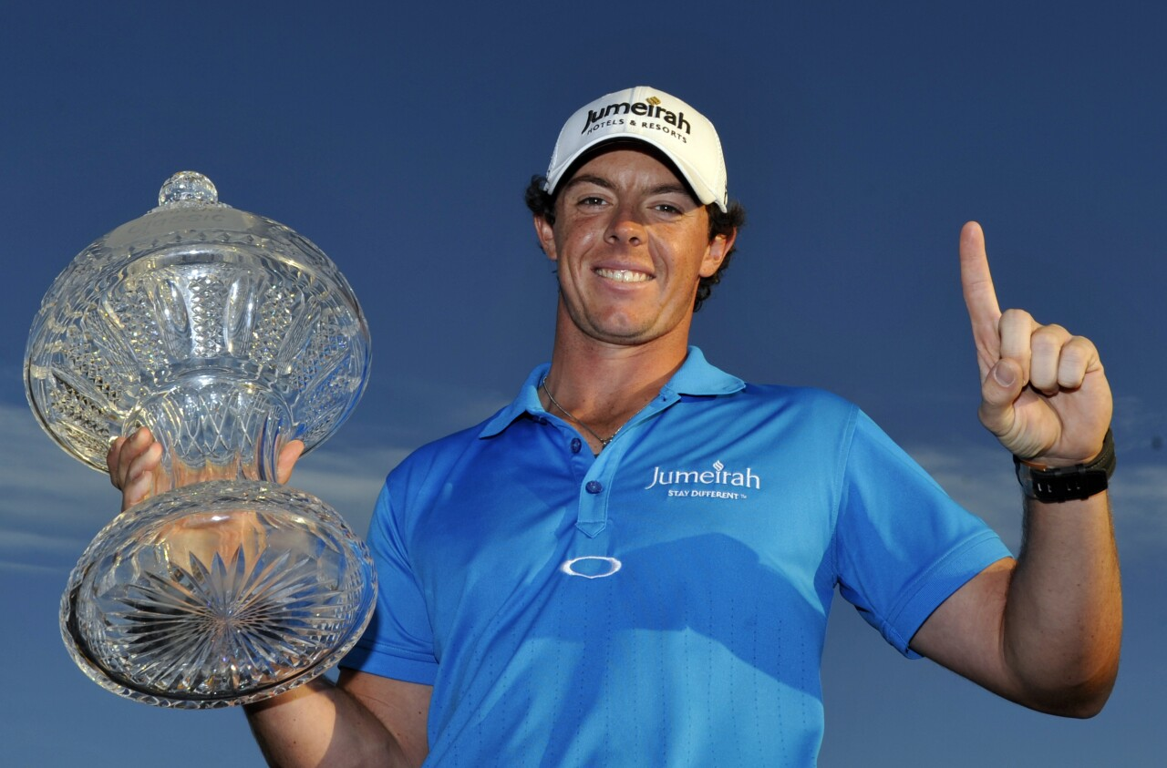 Rory McIlroy holds trophy after winning 2012 Honda Classic