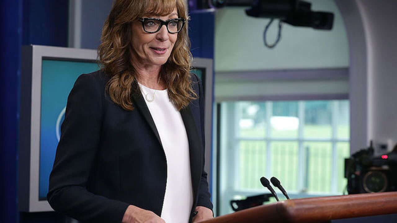 C.J. Cregg interrupts White House press briefing