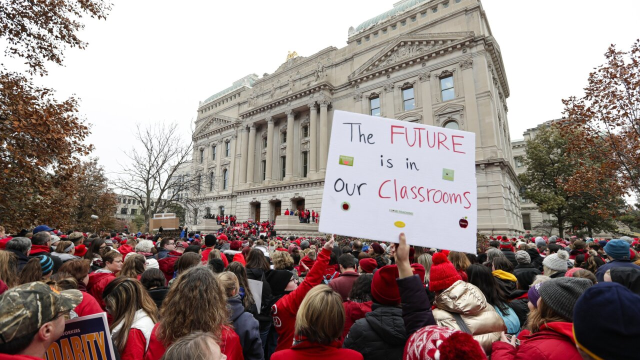 147 Indiana school districts cancel classes as teachers protest at the state Capitol