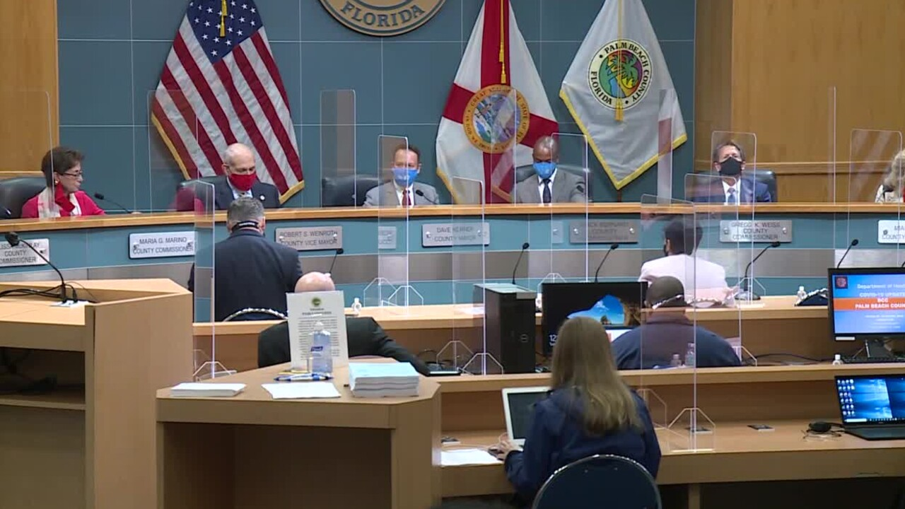 Dr. Alina Alonso speaks to Palm Beach County commissioners, Nov. 17, 2020