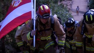 Firefighters climb the Incline on 9-11