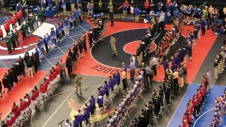 WATCH: Soldiers rappel from ceiling ahead of Nebraska State Wrestling semifinals