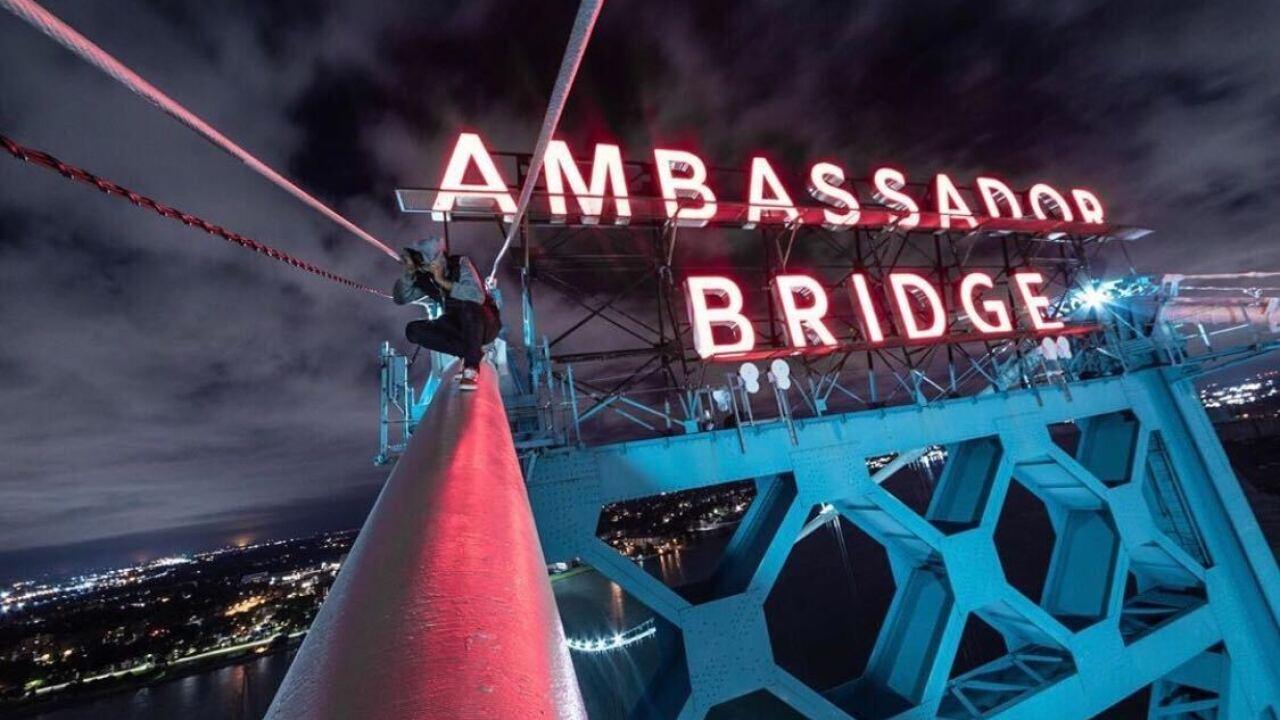 Instagram daredevil captures photo atop Detroit's Ambassador Bridge