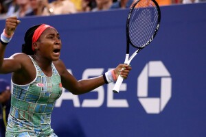Cori Gauff of the United States celebrates match point against Anastasia Potapova of Russia during their Women's Singles first round match on day two of the 2019 US Open at the USTA Billie Jean King National Tennis Center on August 27, 2019 in the Flushing neighborhood of the Queens borough of New York City.