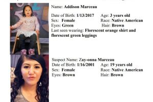 The Montana Department of Justice has issued an AMBER Alert for three-year old Addison Marceau.