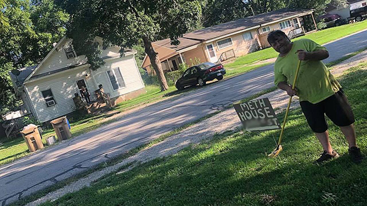 Meth house' sign heats up feud between neighbors