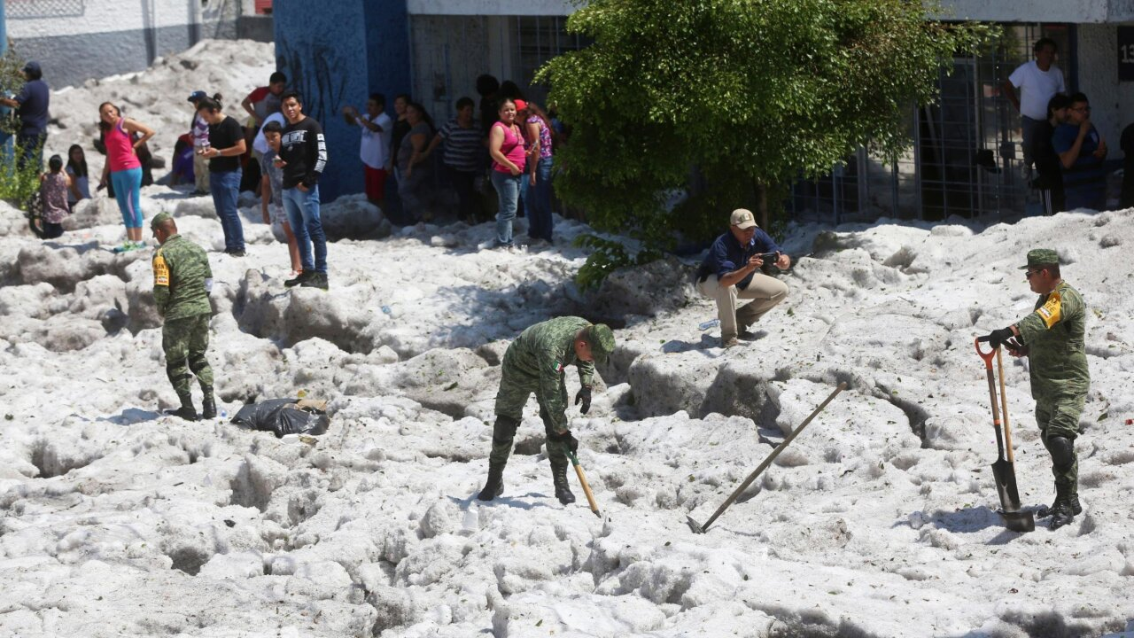 A Mexican city was covered in ice after a freakish summer hailstorm