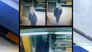 Surveillance video shows suspected robber inside a Dollar General Store in Sheffield Township.