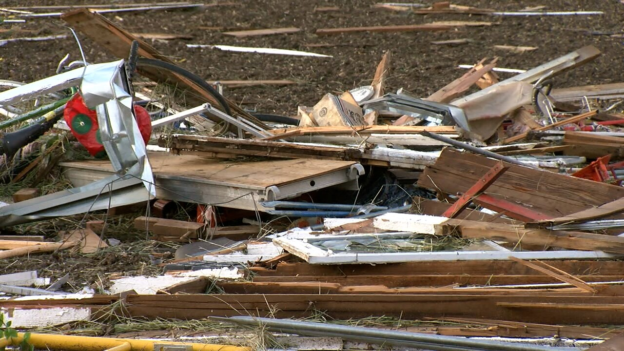 Families west of Platteville left with debris and property damage following Monday's tornado