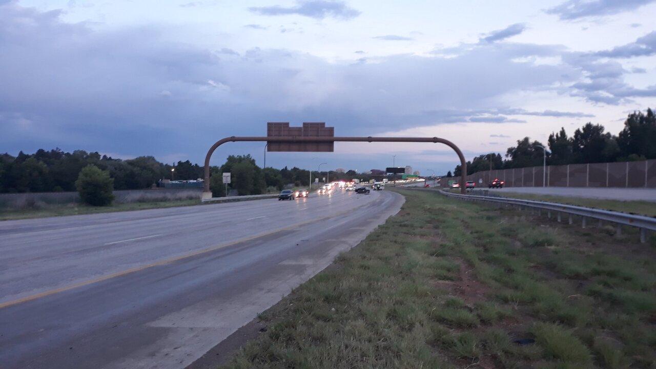 Auto/Pedestrian accident on northbound I-25