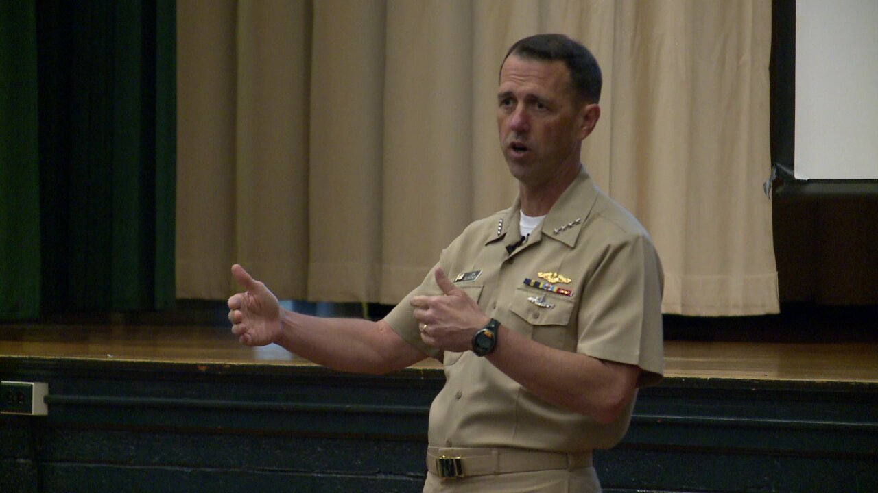 Chief of Naval Operations visits USS Gerald R. Ford in Newport News