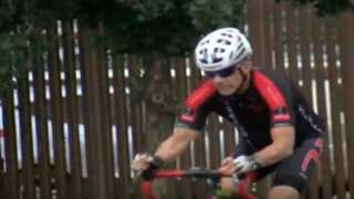 A 60-year old cyclist is back on his bike after being saved during heart attack