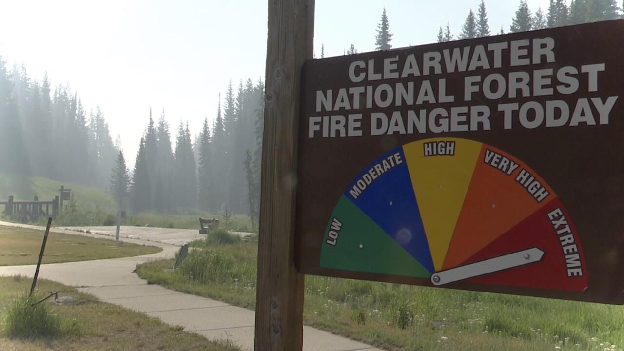 Fire danger extreme near Lolo Pass